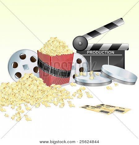 illustration of clapper baord with movie reel ticket and pop corn on isolated white background