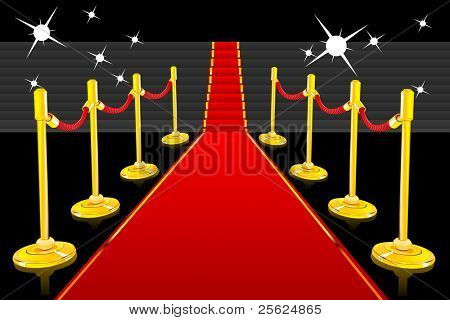 illustration of red carpet going up to stairs lined with gold stanchions