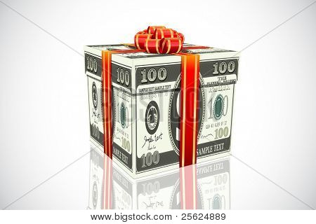 illustration of gift made of dollar note on white background