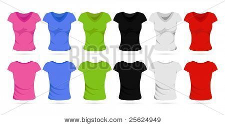 illustration of set of colorful front and back view of female t-shirts