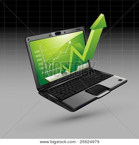 illustration of upward arrow coming out of laptop on isolated background