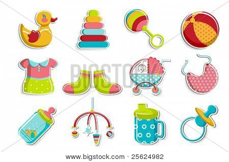 illustration of set of item related to baby on isolated background