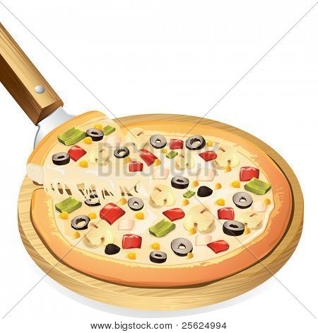 illustration of yummy cheesy pizza on pan against white background