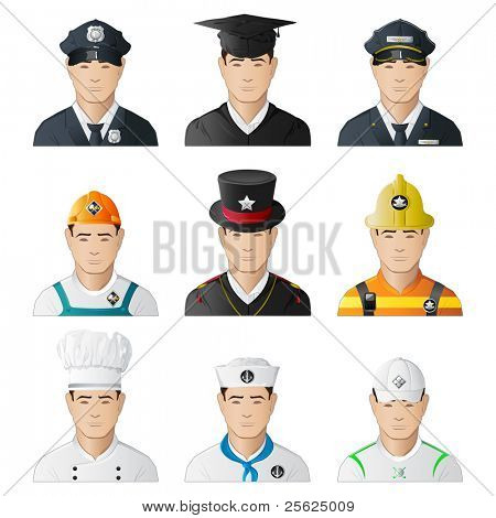 illustration of set of icon of man in different professions on isolated background