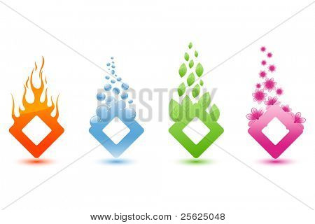 illustration of different element like water fire and eco on isolated background