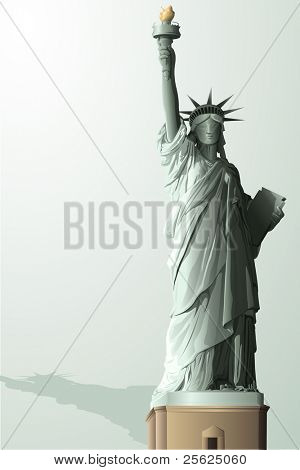 illustration of statue of liberty on abstract background