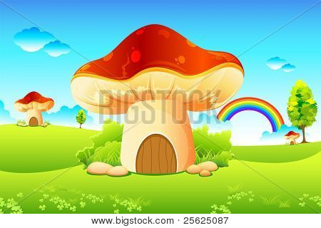 illustration of mushroom homes in beautiful meadow