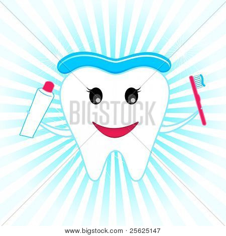 illustration of happy teeth with tooth brush and tooth paste