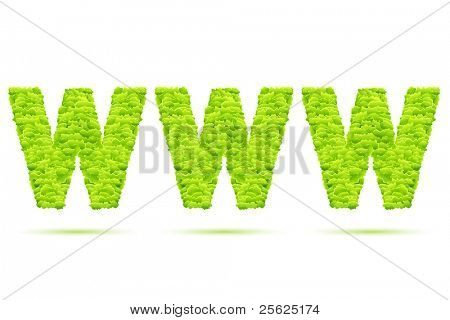 illustration of www formed by grass on white background