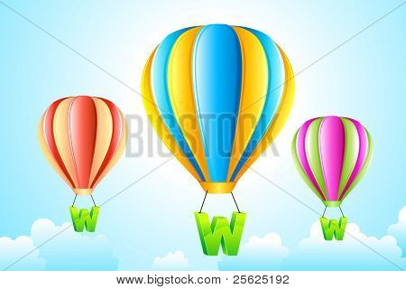 illustration of WWW hanging from hot air balloon in sky