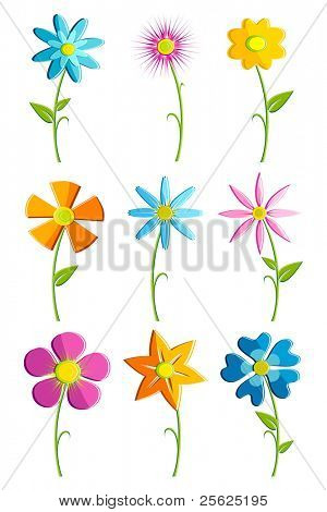 illustration of set of colorful flowers on isolated background