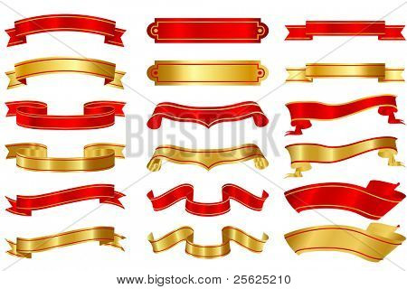 illustration of set of different shape ribbons on isolated background