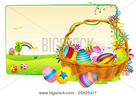 illustration of basket full of colorful decorated easter eggs on meadow