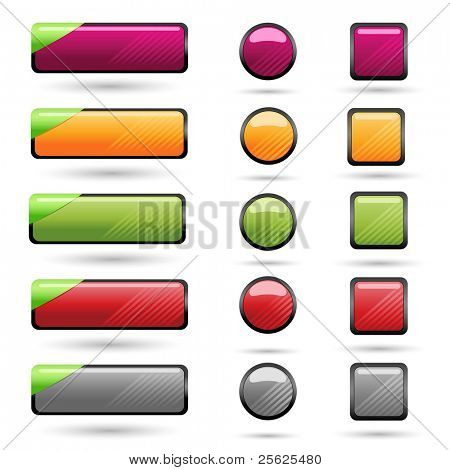 illustration of set of blank button for web on isolated background