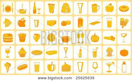 illustration of set of food icon on plain background