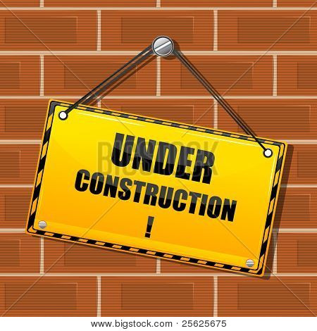 illustration of under construction board hanging on brick wall