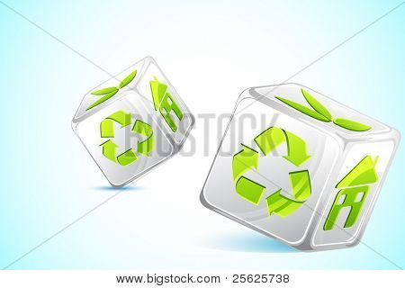illustration of dice with different recycle symbol