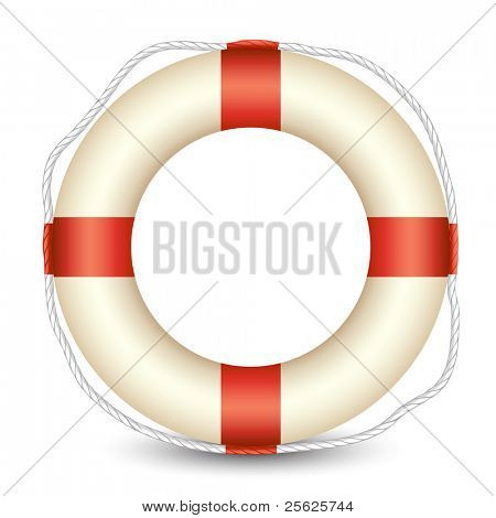 illustration of lifebouy kept in isolated white background