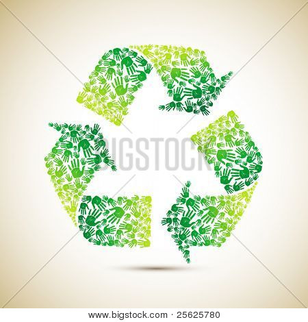 illustration of recycle symbol made of human hand