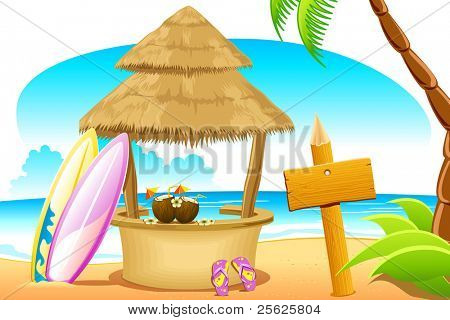 illustration of straw hut and surfing board in beach