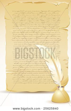 illustration of ancient old letter with feather and ink pot