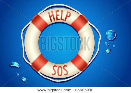 illustration of help and sos written on lifebouy