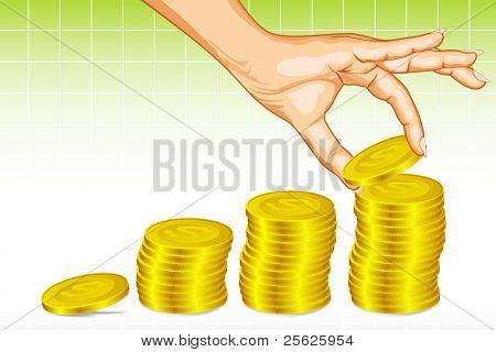 illustration of human making coin bar graph