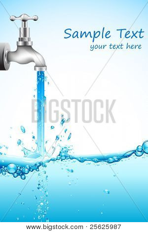 illustration of falling water from tap on abstract background