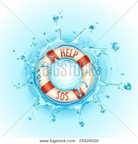 illustration of lifebouy in pool of water with help and sos sign