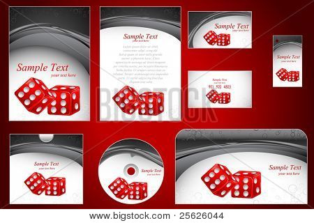 illustration of set of business template with dice