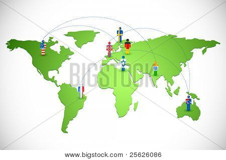 illustration of human icon of different countries connected on world map