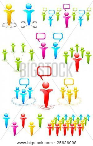 illustration of set of different pattern of networking with human icon