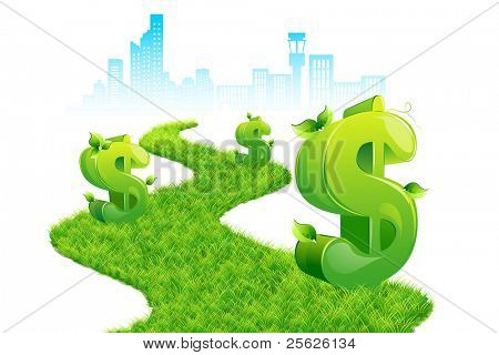 illustration of dollar growing on grass path with city scape backdrop