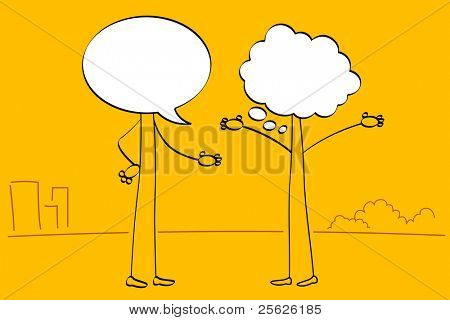 Ilustración de las personas con la cabeza de la burbuja del discurso hablando entre sí