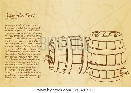 illustration of beer barrel on abstract vintage background