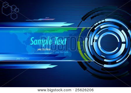illustration of abstract techno background with world map
