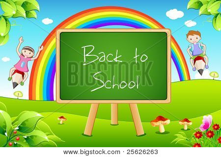 illustration of back to school on black board with flying kids in landscape background