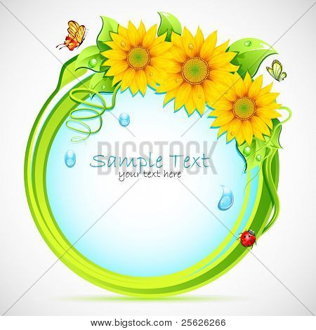 illustration of circle with sunflower frame and butterfly