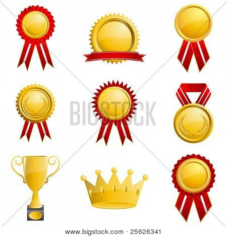 illustration of medals on isolated white background
