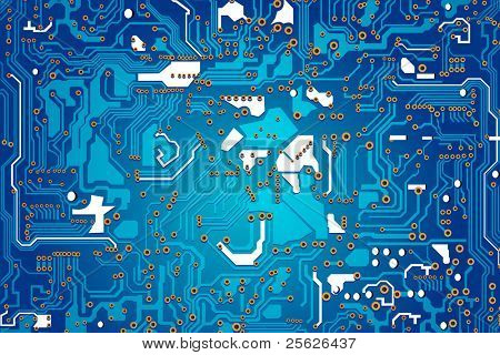 illustration of blue circuit board showing connection