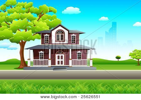illustration of sweet home on beautiful landscape