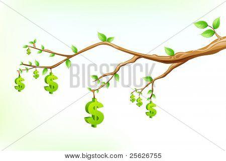 illustration of dollar symbol hanging from tree branch