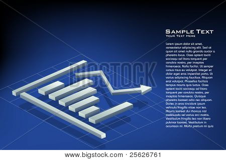 illustration of bar graph on abstract background