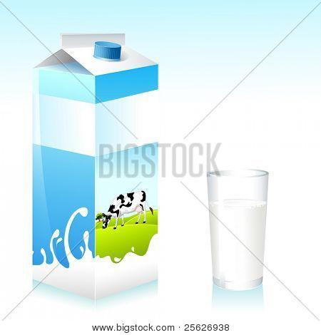 Abbildung der Kuh auf Tetra Pack von Milch und Glas