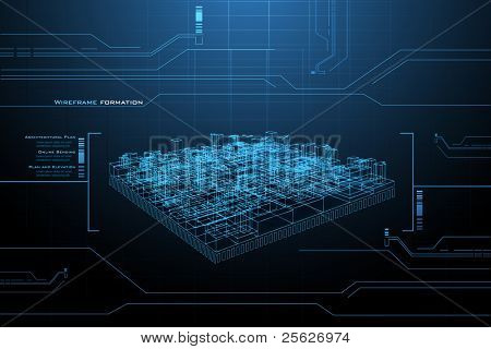 illustration of wire frame presentation of building on technology background