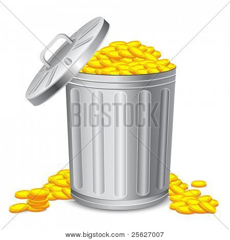 illustration of dustbin full of gold coin