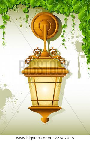 illustration of old lamp hanging on wall with creeper