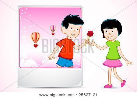 Ilustración de chico chica propone salir del marco de la foto