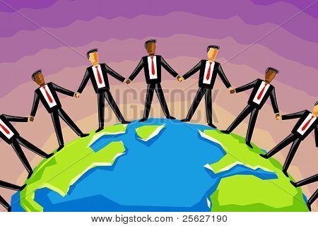 illustration of multiracial of businessman holding hand standing around globe