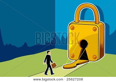 illustration of businessman entering into keyhole of padlock